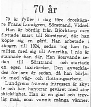 Lundgren Frans Sörstrand 70 år 17 Maj 1965 PT