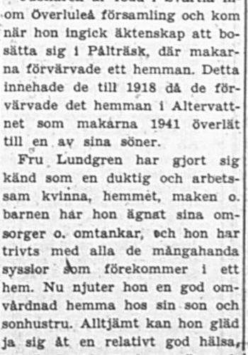 Lundgren Hulda Maria Altervattnet 80 år 10 Aug 1957 PT