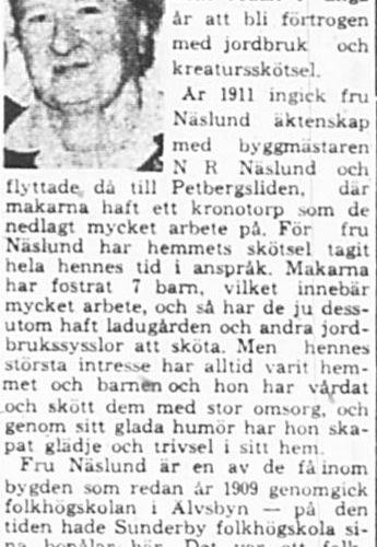 Näslund Hanna Margareta Petbergsliden 80 år 28 Mars 1964 PT