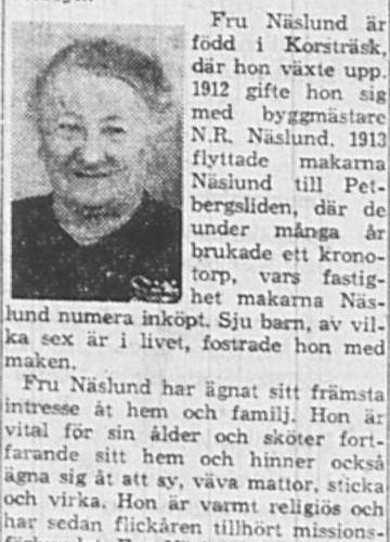 Näslund Johanna Magdalena Petbergsliden 80 år 28 Mars 1964 NSD