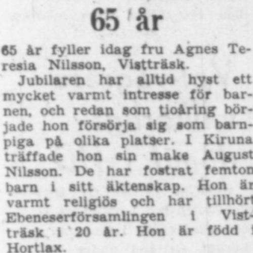Nilsson Agnes Teresia Vistträsk 65 år 8 Juli 1957 PT