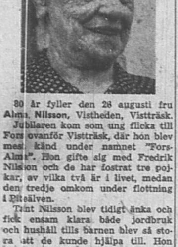 Nilsson Alma Vistheden Vistträsk 80 år 24 Aug 1957 Nk