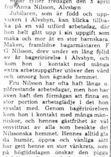 Nilsson Anna Älvsbyn 80 år 2 April 1964 PT