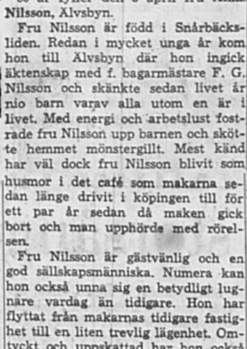 Nilsson Anna Älvsbyn 80 år 28 Mars 1964 NK