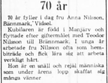 Nilsson Anna Brännmark Vidsel 70 år 12 Aug 1965 PT