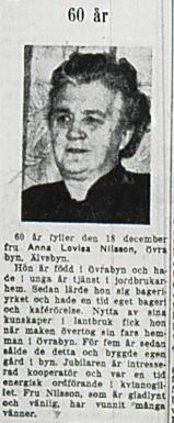 Nilsson Anna Lovisa Övra byn Älvsbyn 60 år 18 dec 1953 nk