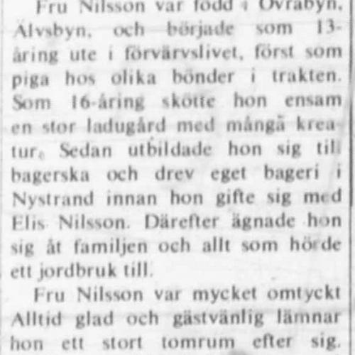 Nilsson Anna Lovisa Övra byn Älvsbyn död 27 Maj 1972 NK