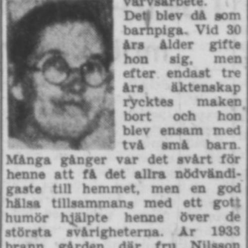 Nilsson Anna Vistträsk 65 år 18 Maj 1957 PT