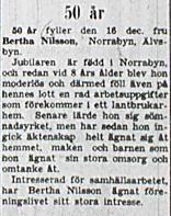 Nilsson Bertha Älvsbyn 50 år 16 dec 1953 NK