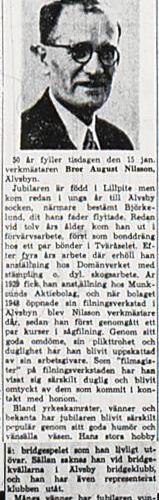 Nilsson Bror August Älvsbyn 50 år 15 jan 1952 NK