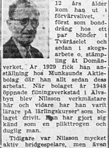 Nilsson Bror August Stockfors 60 år 15 Jan 1962 PT