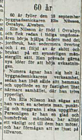 Nilsson Elis Övra byn 60 år 18 sept 1953 NK