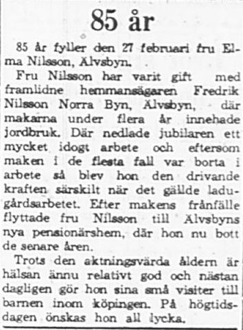 Nilsson Elma Älvsbyn 85 år 26 feb 1965 PT
