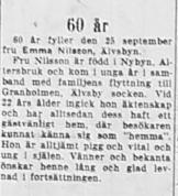 Nilsson Emma Älvsbyn 60 år 24 sept 1953 NK