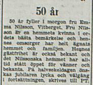 Nilsson Emma Vitberget 50 år 1 okt 1953 PT
