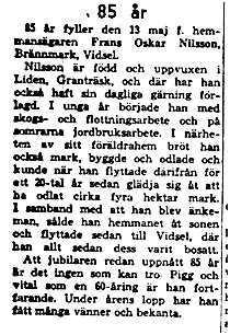Nilsson Frans Oskar Brännmark 85 år 13 Maj 1958 NK