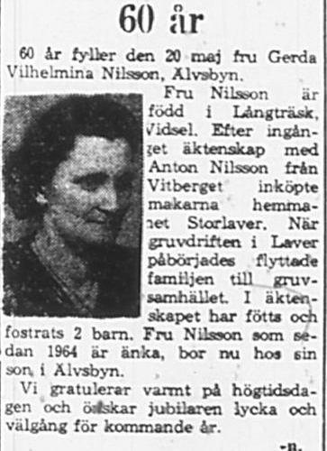 Nilsson Gerda Wilhelmina Älvsbyn 60 år 19 Maj 1965 PT