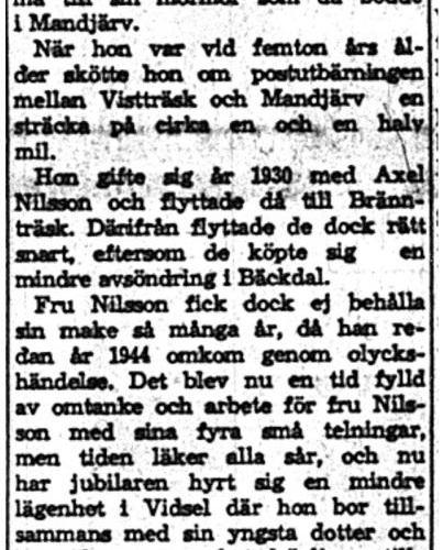Nilsson Göta Vidsel 50 år 25  Maj 1959 NK