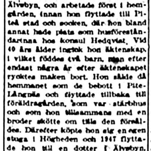 Nilsson Greta Johanna Älvsbyn 75 år 7 dec 1953 nk