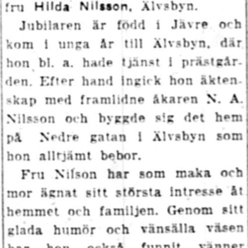 Nilsson Hilda Älvsbyn 70 år 13 Sept 1951 NK