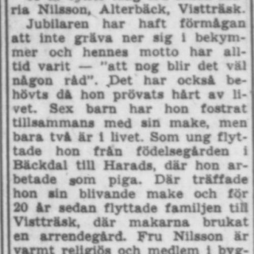 Nilsson Hilda Maria Vistträsk 65 år 15 Juli 1957 PT