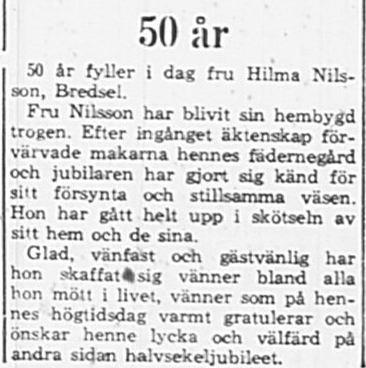 Nilsson Hilma Bredsel 50 år 19 Maj 1965 PT