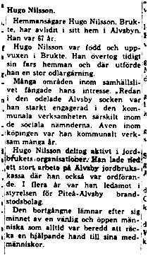 Nilsson Hugo Brukte Älvsbyn död 11 Maj 1964 NK