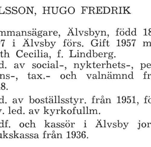 Nilsson Hugo Fredrik Älvsby Köping 1957