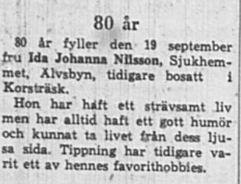 Nilsson Ida Johanna Älvsbyn 80 år 18 Sept 1965 NK