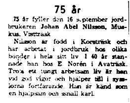 Nilsson Johan Abel Muskus 75 år 16 sept 1961 NK