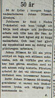 Nilsson Johan Älvsbyn 50 år 1 okt 1953 PT