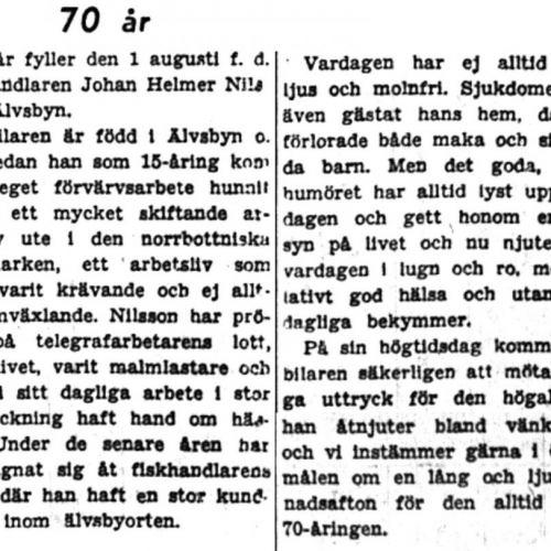 Nilsson Johan Helmer Älvsbyn 70 år 28 juli 1949 PT