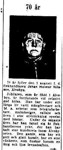 Nilsson Johan Helmer Älvsbyn 70 år 30 Juli 1949 NK