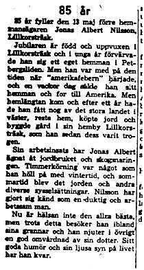 Nilsson Jonas Albert Lillkorsträsk 85 år 13 Maj 1958 NK