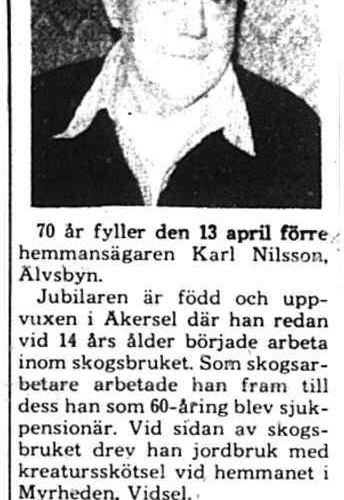 Nilsson Karl Älvsbyn 70 år 12 April 1975 PT