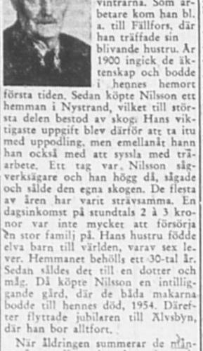 Nilsson Karl Älvsbyn 80 år 3 Dec 1956 PT
