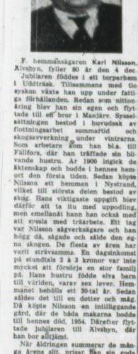 Nilsson Karl Älvsbyn 80 år 3 dec 1956 NK