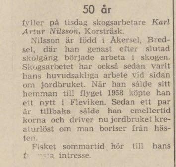 Nilsson Karl Artur Korsträsk 50 år 12 april 1965 NFL