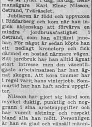 Nilsson Karl Einar Östrand Tväråselet 50 år 12 Okt 1957 NSD