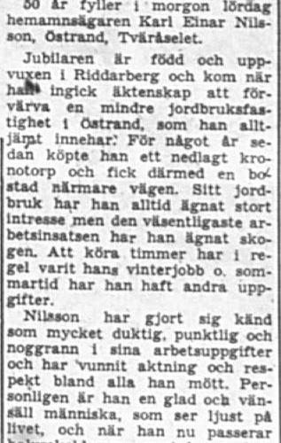Nilsson Karl Einar Östrand Tväråselet 50 år 12 Okt 1957 PT