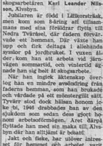Nilsson Karl Leander Älvsbyn 65 år 4 Sept 1957 NK
