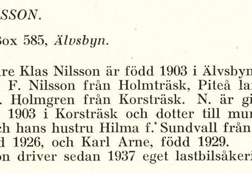 Nilsson Klas Från Boken Svensk Familjekalender Tryckt 1945