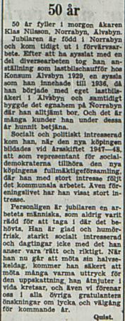Nilsson Klas Norrabyn 50 år 22 aug 1953 PT