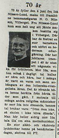 Nilsson-Lund Ida Vitberget 70 år 1juni 1953 PT