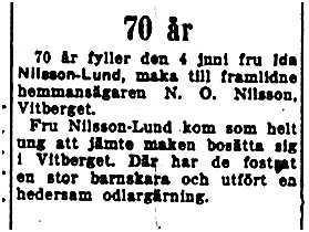 Nilsson-Lund Ida Vitberget 70 år 2 Juni 1953 NK