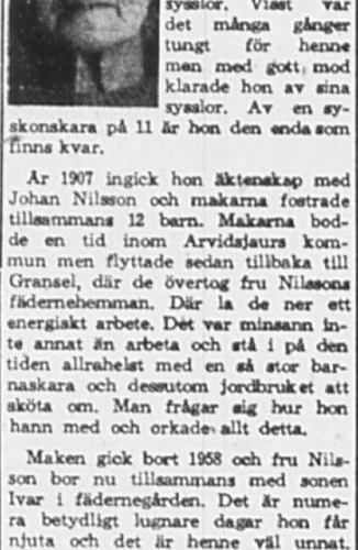 Nilsson Maria Gransel Bredsel 80 år 13 Mars 1965 PT