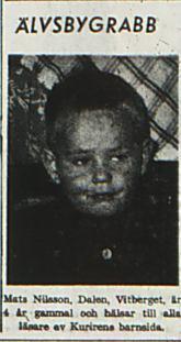 Nilsson Mats Vitberget Dalen 4 år 15 okt 1955 NK