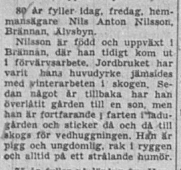 Nilsson Nils Anton Brännan Älvsbyn 80 år 4 dec 1959 NSD