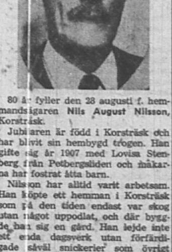 Nilsson Nils August Korsträsk 80 år 27 Aug 1957 Nk