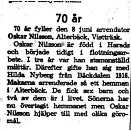 Nilsson Oskar Alterbäck Vistträsk 70 år 8  Juni 1959 NK